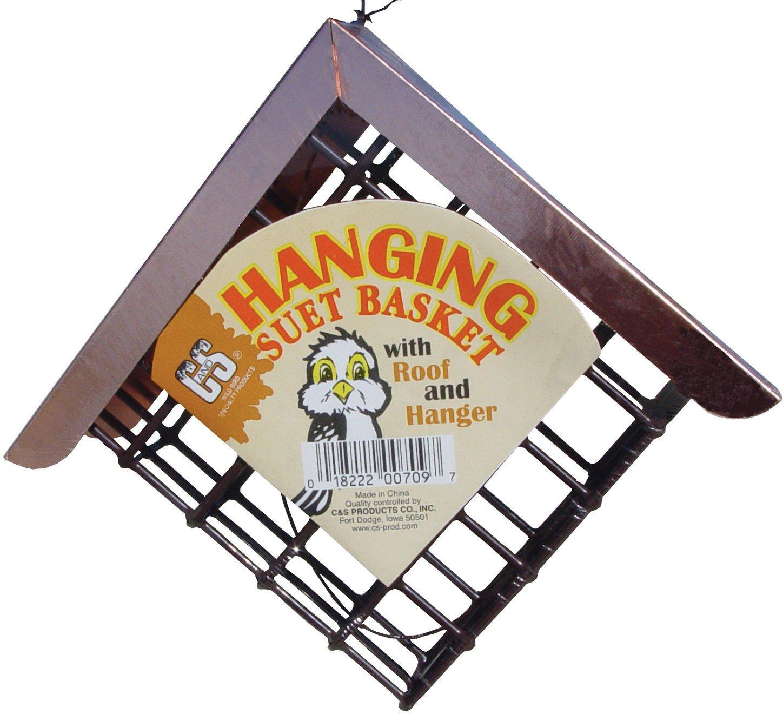 C&S Hanging Suet Basket with Roof & Hanger Wild Bird Feeder, 7-in