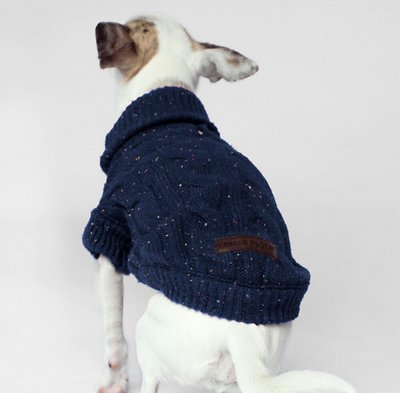 Canada Pooch Cambridge Cableknit Dog Sweater, Navy, 24