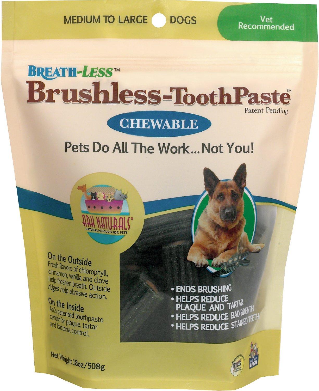 Ark Naturals Breath-Less Brushless Toothpaste Medium to Large Dog Chews, 18-oz bag