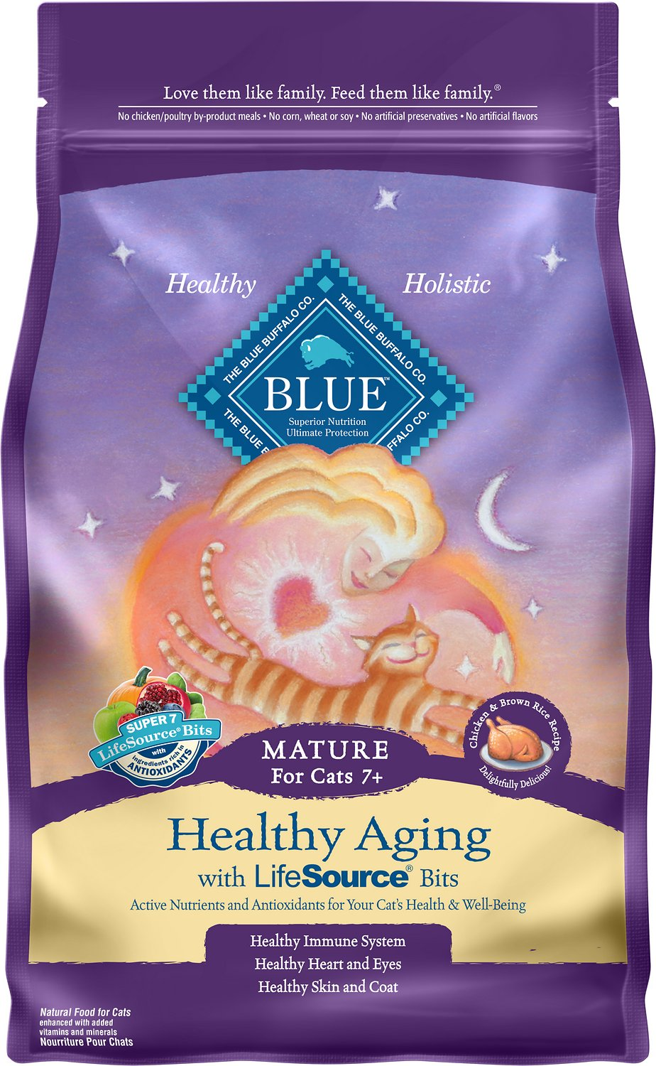 Blue Buffalo Healthy Aging Chicken & Brown Rice Recipe Mature Dry Cat Food Image