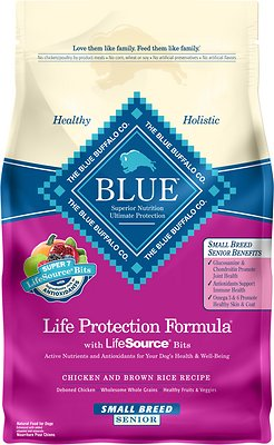Blue Buffalo Life Protection Formula Small Breed Senior Chicken & Brown Rice Recipe Dry Dog Food, 6-lb bag