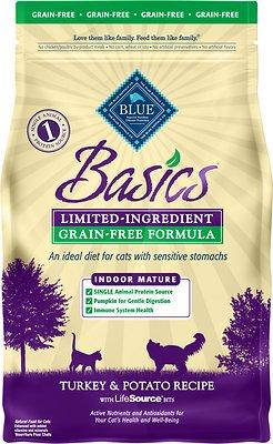 Blue Buffalo Basics Limited Ingredient Grain-Free Formula Turkey & Potato Indoor Mature Dry Cat Food