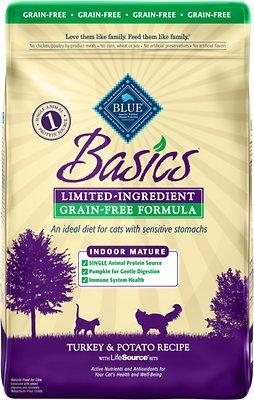 Blue Buffalo Basics Limited Ingredient Grain-Free Formula Turkey & Potato Indoor Mature Dry Cat Food, 11-lb bag