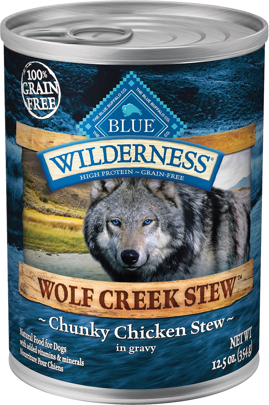 Blue Buffalo Wilderness Wolf Creek Stew Chunky Chicken Stew Grain-Free Adult Canned Dog Food, 12.5-oz, case of 12