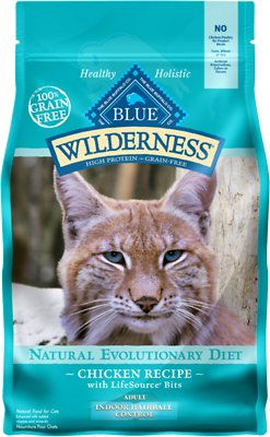 Blue Buffalo Wilderness Chicken Recipe Indoor Hairball Control Grain-Free Dry Cat Food, 5-lb bag