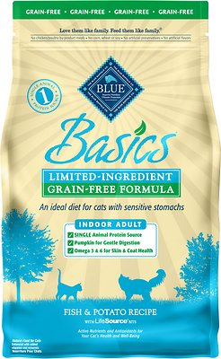 Blue Buffalo Basics Limited Ingredient Grain-Free Formula Fish & Potato Indoor Adult Dry Cat Food, 5-lb bag