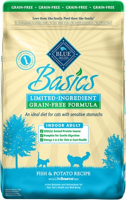 Blue Buffalo Basics Limited Ingredient Grain-Free Formula Fish & Potato Indoor Adult Dry Cat Food, 11-lb bag