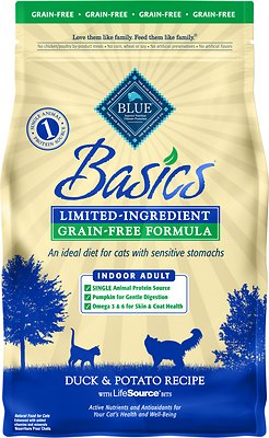 Blue Buffalo Basics Limited Ingredient Grain-Free Formula Duck & Potato Indoor Adult Dry Cat Food, 5-lb bag
