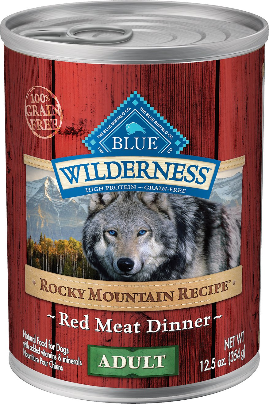 Blue Buffalo Wilderness Rocky Mountain Recipe Red Meat Dinner Adult Grain-Free Canned Dog Food, 12.5-oz