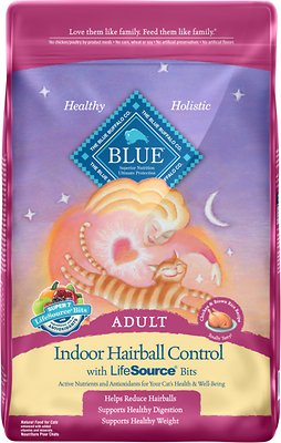 Blue Buffalo Indoor Hairball Control Chicken & Brown Rice Recipe Adult Dry Cat Food, 15-lb bag