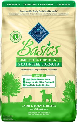 Blue Buffalo Basics Limited Ingredient Grain-Free Formula Lamb & Potato Recipe Adult Dry Dog Food, 22-lb bag Weights: 22.0 pounds, Size: 22-lb bag