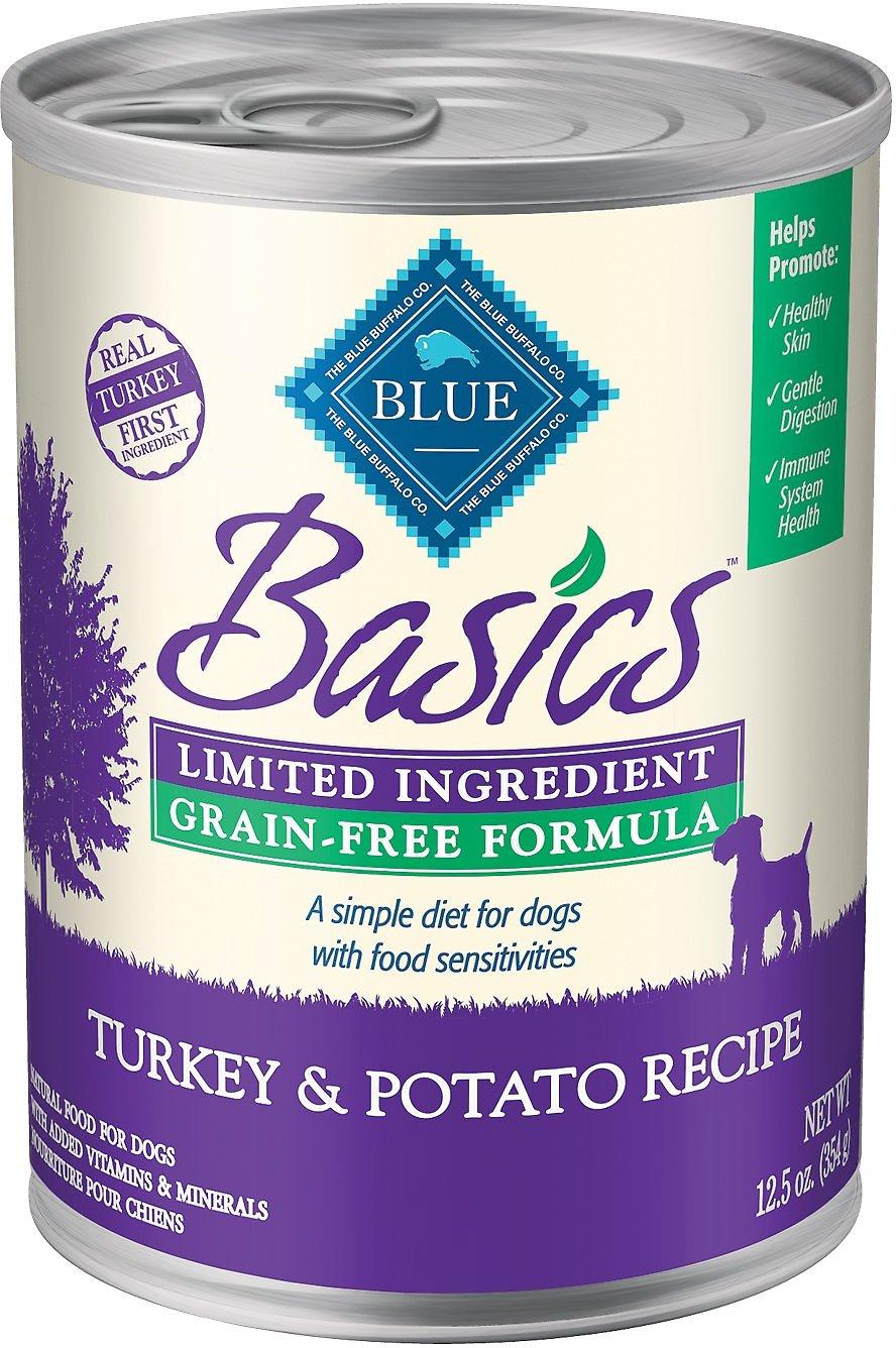 Blue Buffalo Basics Limited Ingredient Grain-Free Turkey & Potato Recipe Canned Dog Food, 12.5-oz