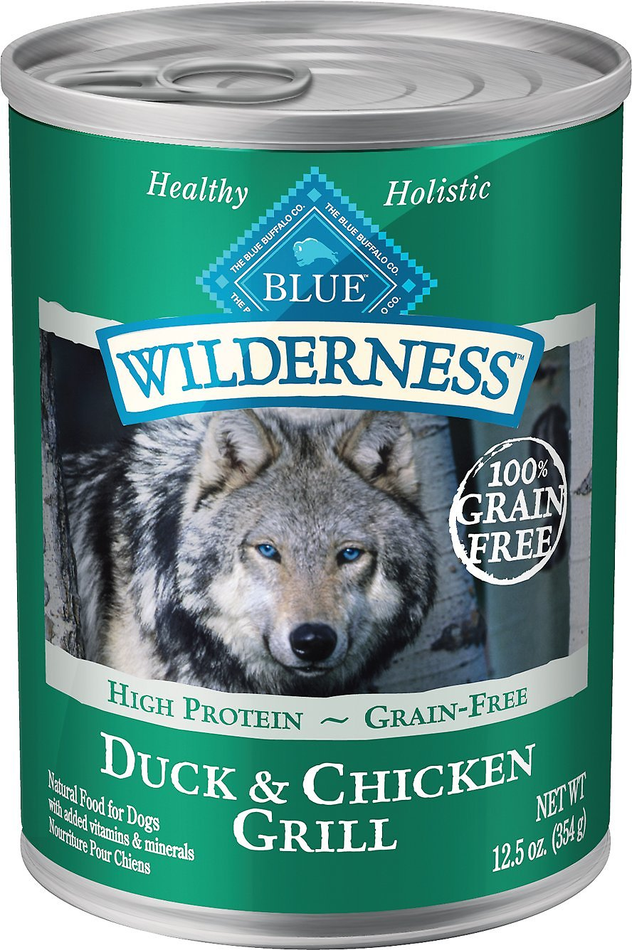Blue Buffalo Wilderness Duck & Chicken Grill Grain-Free Canned Dog Food, 12.5-oz