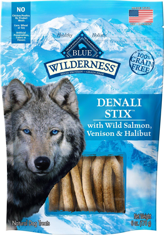 Blue Buffalo Wilderness Denali Stix Salmon, Venison & Halibut Formula Grain-Free Dog Treats, 6-oz bag