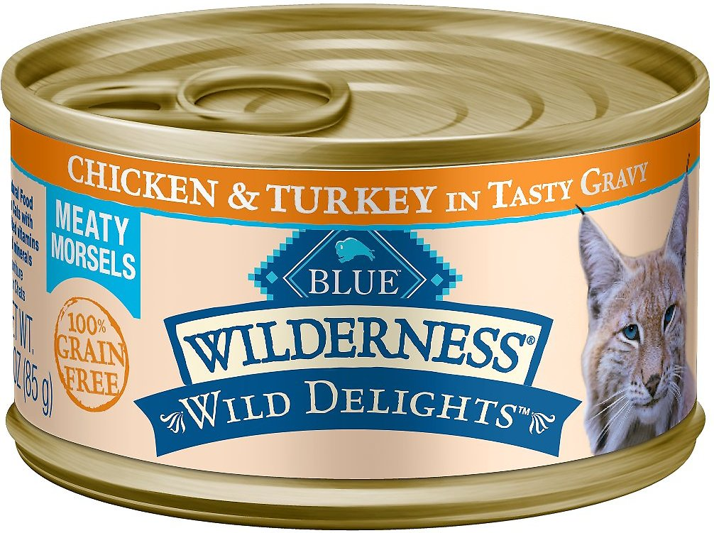 Blue Buffalo Wilderness Wild Delights Chicken & Turkey in Tasty Gravy Grain-Free Canned Cat Food, 3-oz