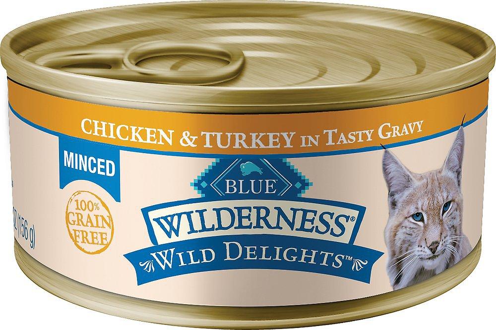 Blue Buffalo Wilderness Wild Delights Minced Chicken & Turkey in Tasty Gravy Grain-Free Canned Cat Food, 5.5-oz