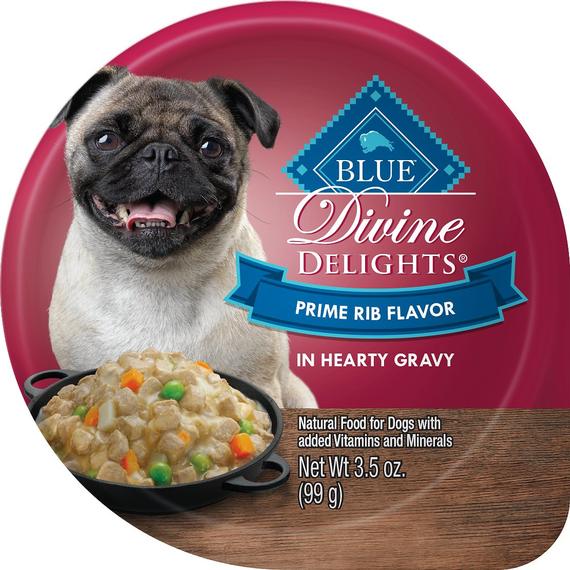 Blue Buffalo Divine Delights Prime Rib Flavor Hearty Gravy Dog Food Trays, 3.5-oz, case of 12