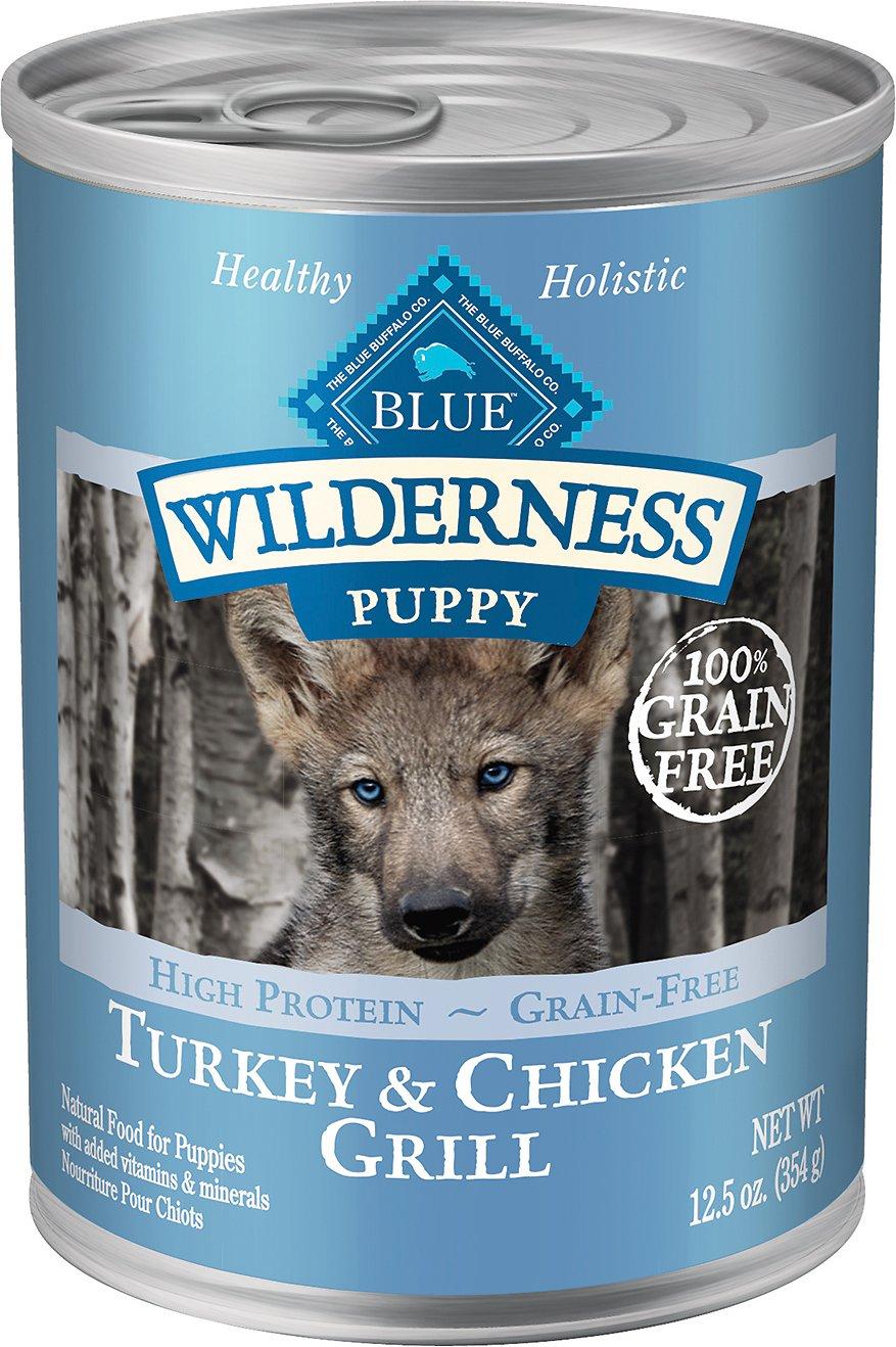 Blue Buffalo Wilderness Turkey & Chicken Grill Grain-Free Puppy Canned Dog Food, 12.5-oz, case of 12