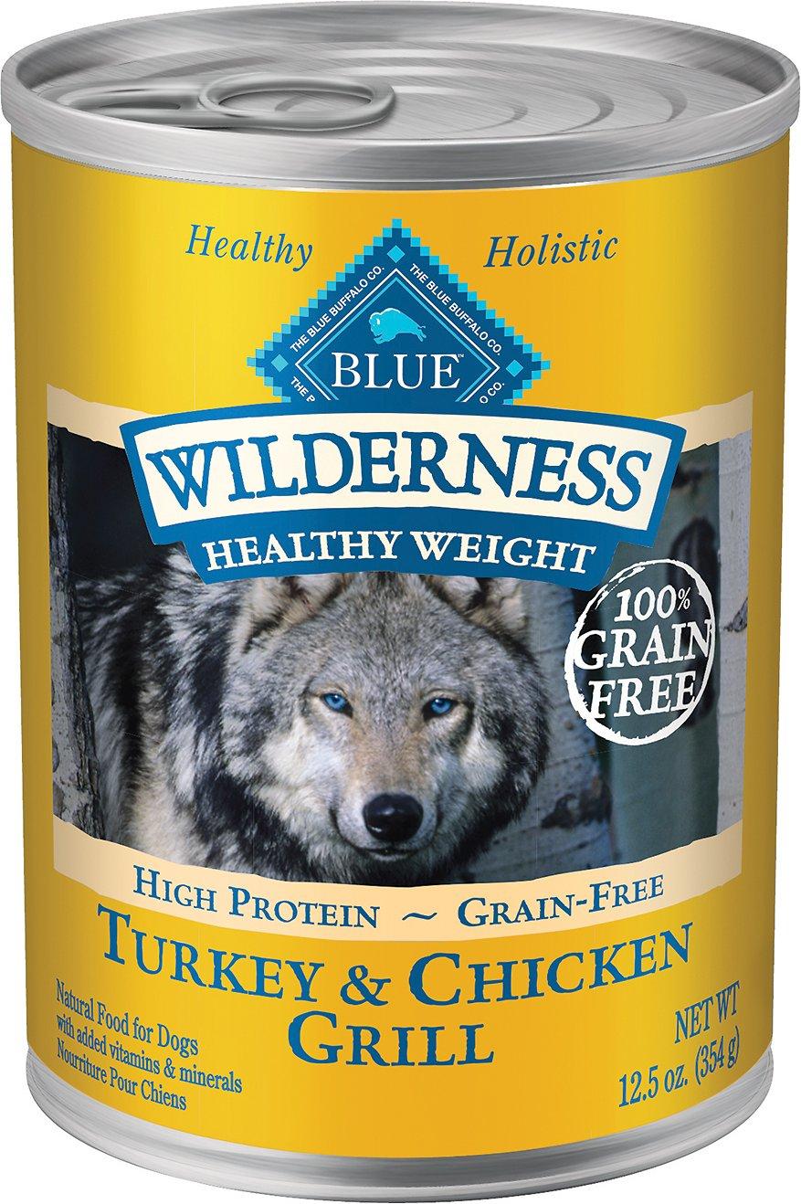 Blue Buffalo Wilderness Healthy Weight Turkey & Chicken Grill Grain-Free Adult Canned Dog Food, 12.5-oz