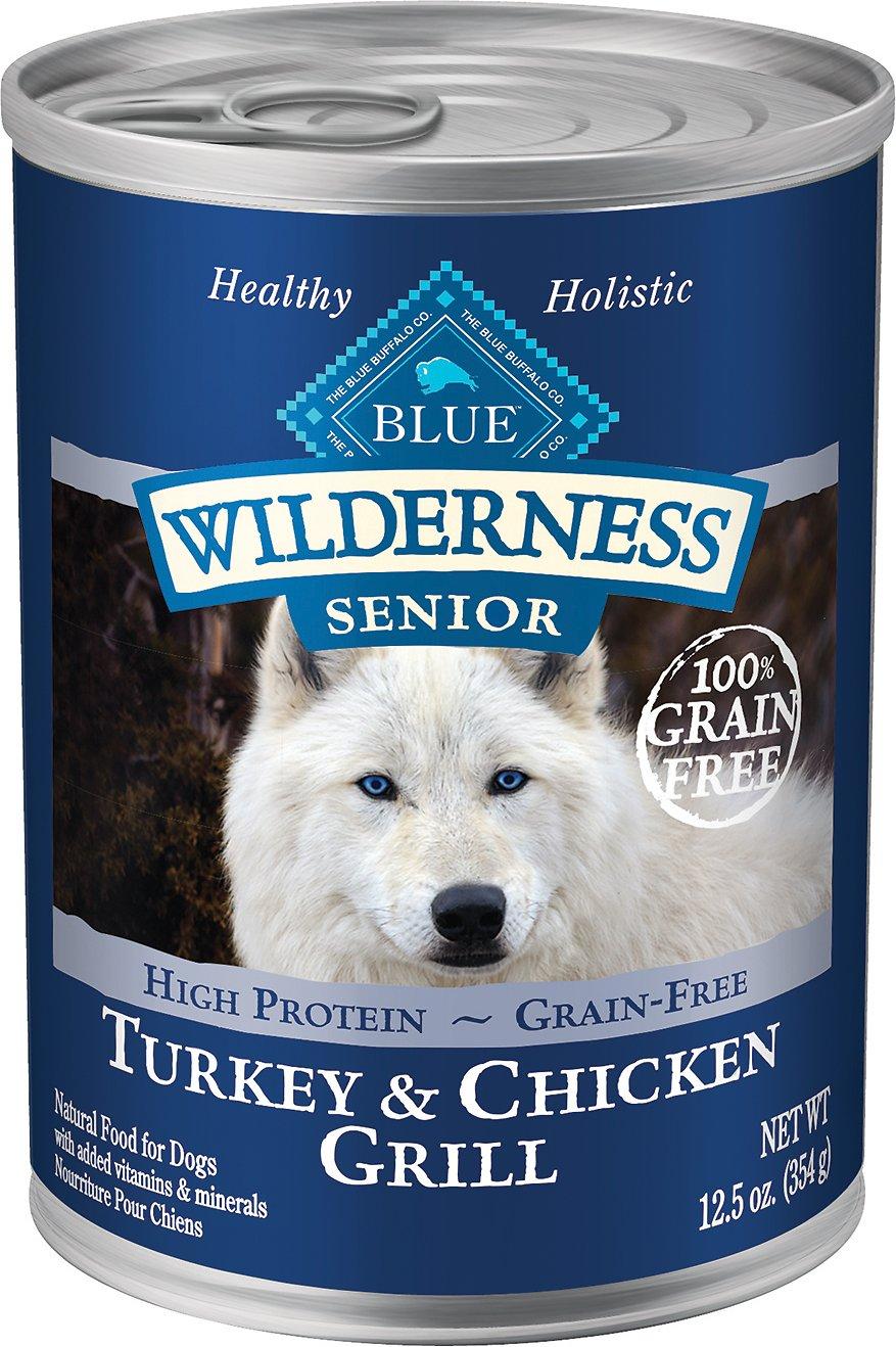 Blue Buffalo Wilderness Turkey & Chicken Grill Grain-Free Senior Canned Dog Food, 12.5-oz,