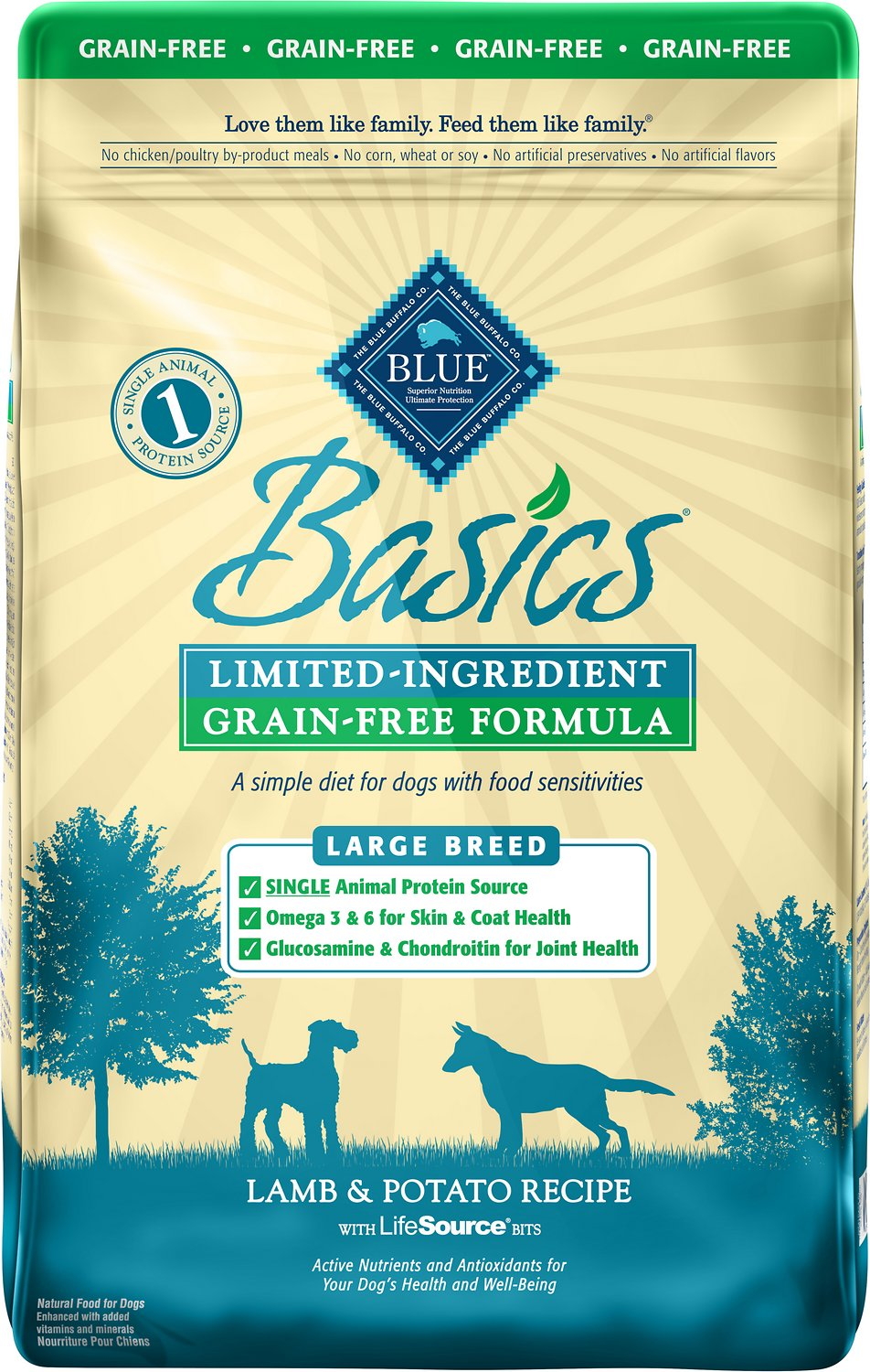Blue Buffalo Basics Limited Ingredient Grain-Free Formula Lamb & Potato Recipe Large Breed Adult Dry Dog Food, 22-lb bag Image