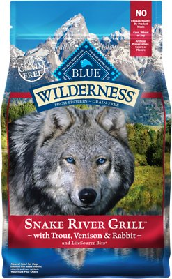 Blue Buffalo Wilderness Snake River Grill Trout, Venison & Rabbit Formula Grain-Free Dry Dog Food, 4-lb bag