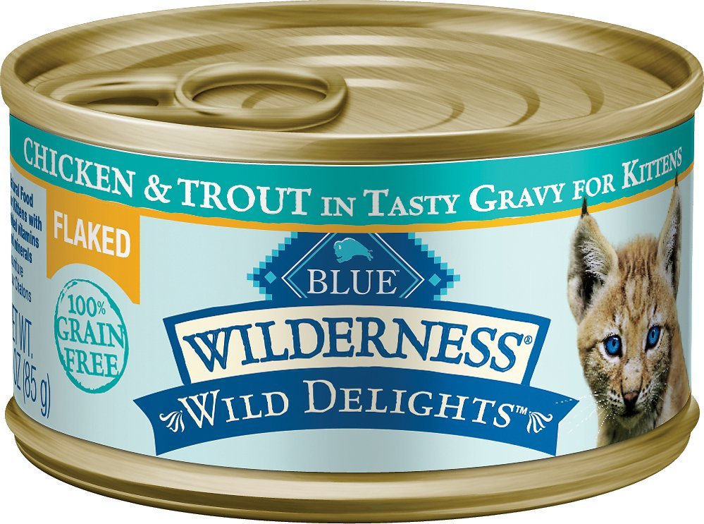 Blue Buffalo Wilderness Wild Delights Flaked Chicken & Trout in Tasty Gravy for Kittens Grain-Free Canned Cat Food, 3-oz