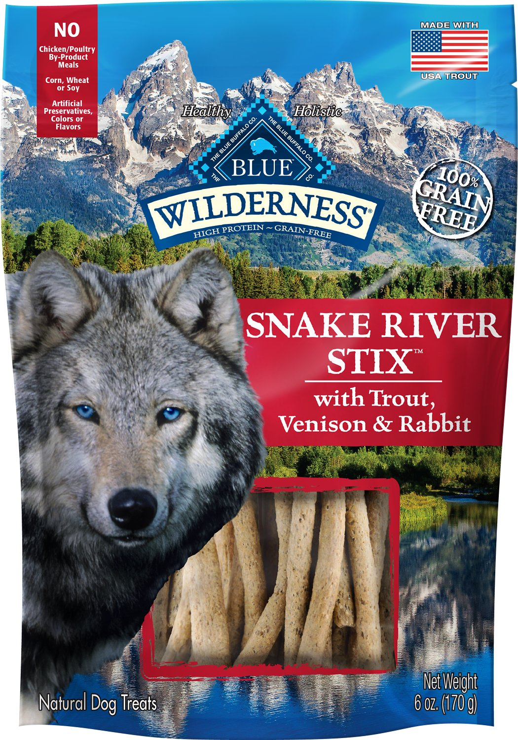 Blue Buffalo Wilderness Snake River Stix Trout, Venison & Rabbit Grain-Free Dog Treats, 6-oz bag