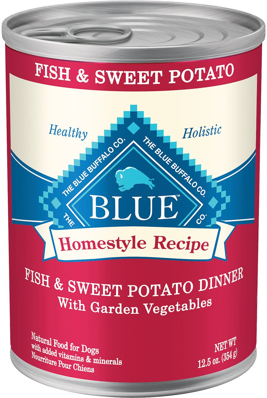 Blue Buffalo Homestyle Recipe Fish & Sweet Potato Dinner with Garden Vegetables Canned Dog Food, 12.5-oz, case of 12 Image