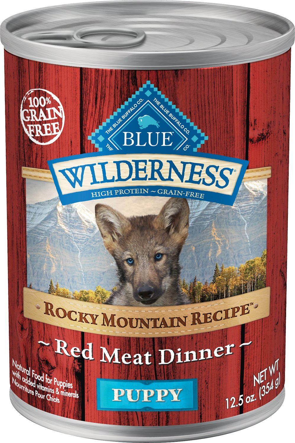 Blue Buffalo Wilderness Rocky Mountain Recipe Red Meat Dinner Puppy Grain-Free Canned Dog Food, 12.5-oz, case of 12