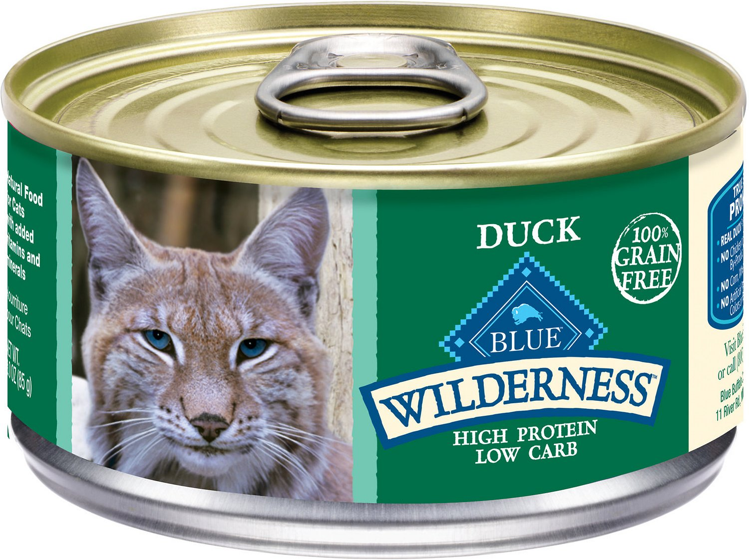 Blue Buffalo Wilderness Duck Grain-Free Canned Cat Food, 3-oz