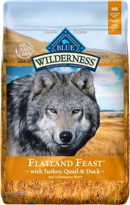 Blue Buffalo Wilderness Flatland Feast Turkey, Quail & Duck Formula Grain-Free Dry Dog Food, 22-lb bag