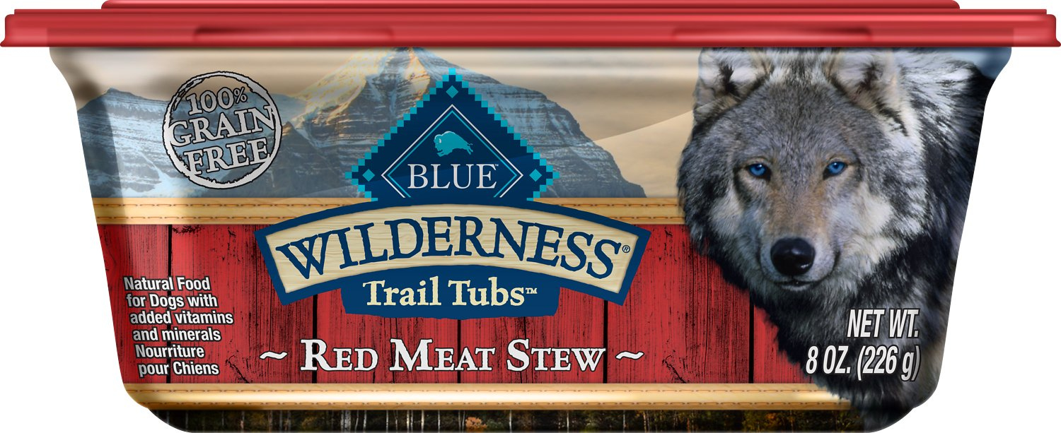 Blue Buffalo Wilderness Trail Tubs Red Meat Stew Grain-Free Dog Food Trays, 8-oz, case of 8