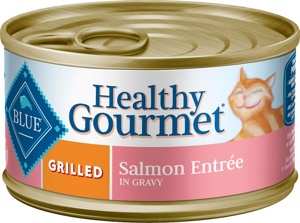 Blue Buffalo Healthy Gourmet Grilled Salmon Entree in Gravy Canned Cat Food, 3-oz, case of 24