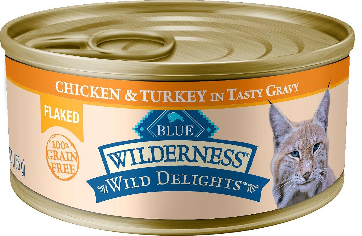 Blue Buffalo Wilderness Wild Delights Flaked Chicken & Turkey Grain-Free Canned Cat Food, 5.5-oz