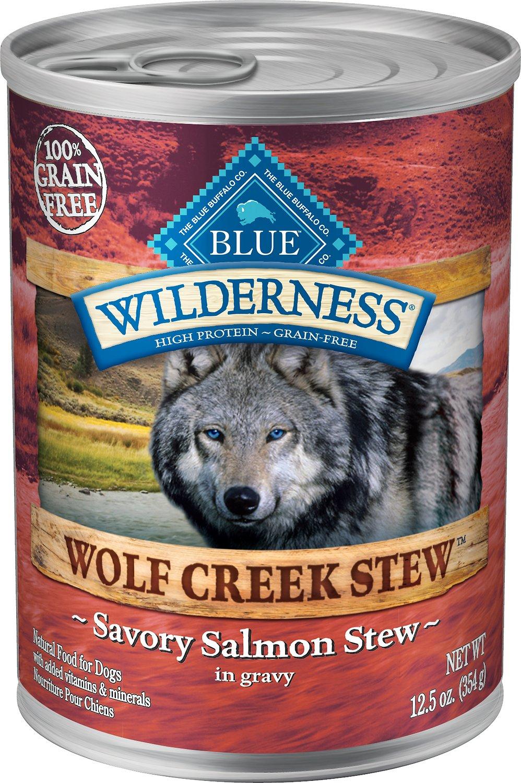 Blue Buffalo Wilderness Wolf Creek Stew Savory Salmon Stew Grain-Free Adult Canned Dog Food, 12.5-oz, case of 12