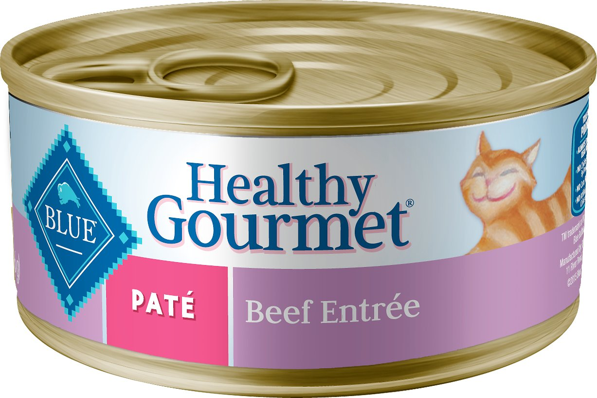 Blue Buffalo Healthy Gourmet Pate Beef Entree Adult Canned Cat Food, 5.5-oz, case of 24