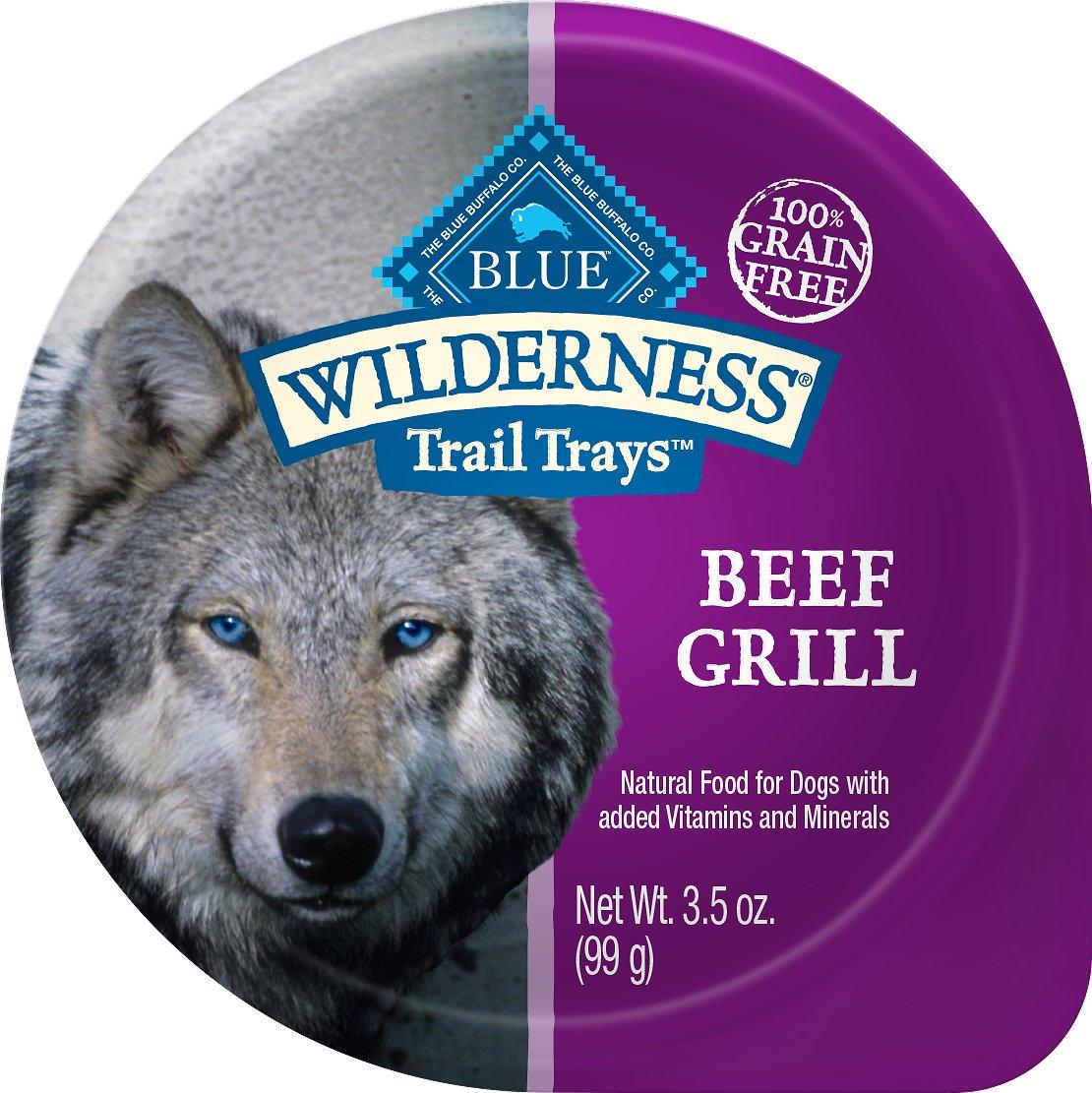 Blue Buffalo Wilderness Trail Trays Beef Grill Formula Grain-Free Dog Food Trays, 3.5-oz