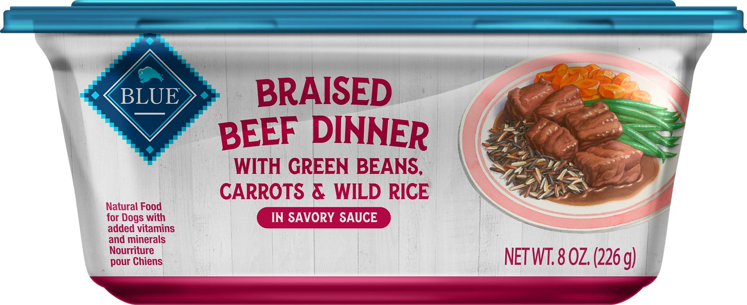 Blue Buffalo Braised Beef Dinner with Green Beans, Carrots & Wild Rice Dog Food Trays, 8-oz, case of 8