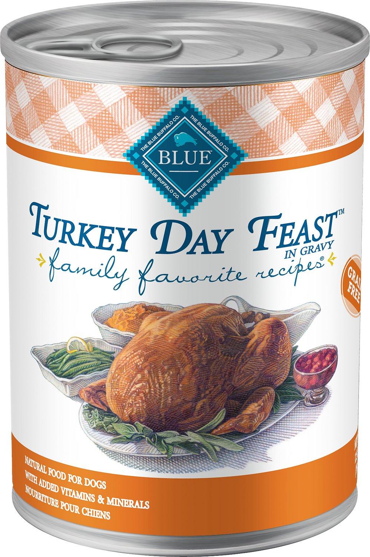 Blue Buffalo Family Favorite Grain-Free Recipes Turkey Day Feast Canned Dog Food, 12.5-oz, case of 12