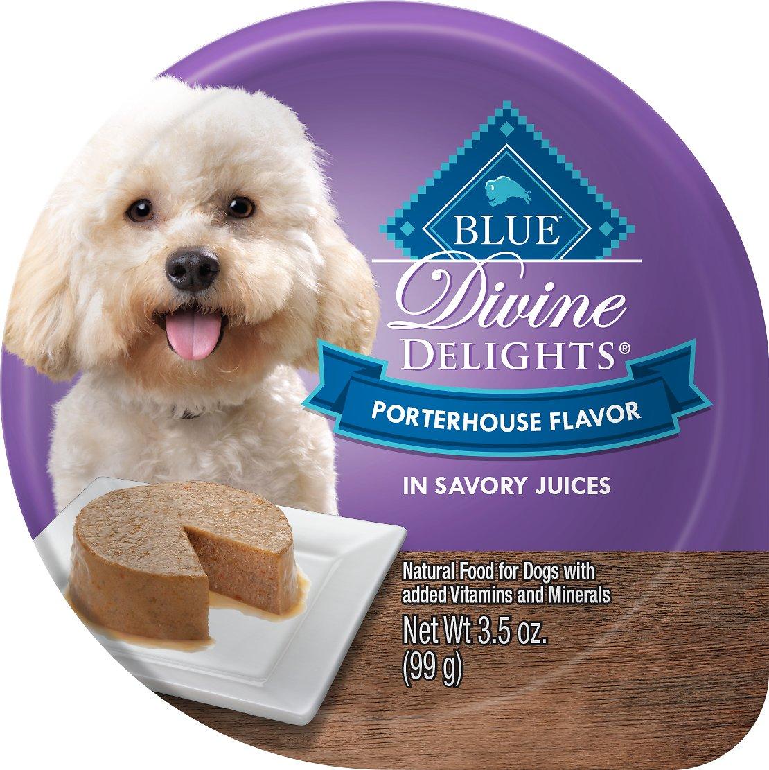 Blue Buffalo Divine Delights Porterhouse Flavor Pate Dog Food Trays, 3.5-oz, case of 12