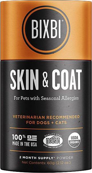 BIXBI Organic Pet Superfood Skin & Coat Daily Dog & Cat Supplement, 2.12-oz jar