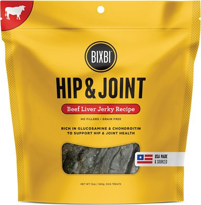 BIXBI Hip & Joint Beef Liver Jerky Recipe Dog Treats, 12-oz bag