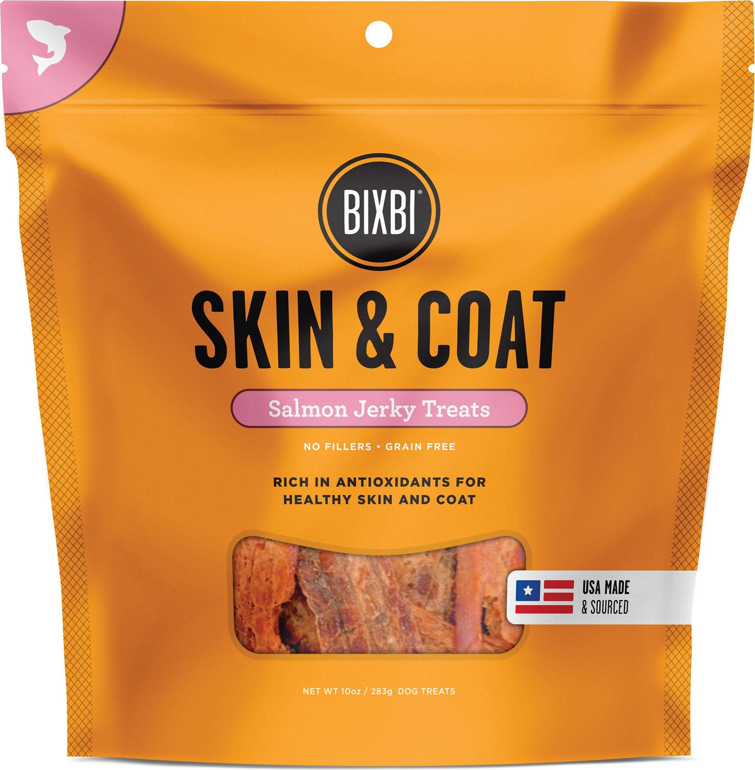 BIXBI Skin & Coat Salmon Jerky Dog Treats, 5-oz bag