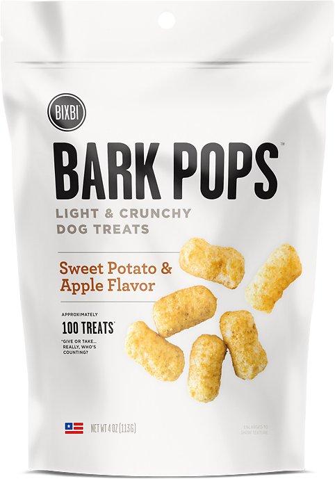 BIXBI Bark Pops Sweet Potato & Apple Flavor Light & Crunchy Dog Treats, 4-oz bag