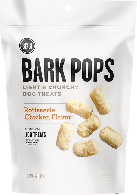 BIXBI Bark Pops Rotisserie Chicken Flavor Light & Crunchy Dog Treats, 4-oz bag Weights: 4ounces