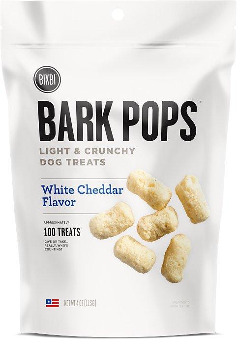 BIXBI Bark Pops White Cheddar Flavor Light & Crunchy Dog Treats, 4-oz bag