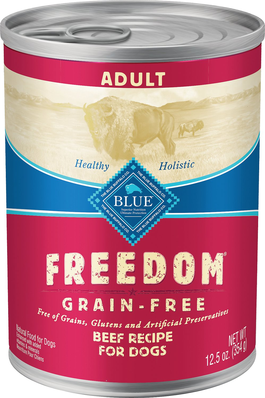 Blue Buffalo Freedom Adult Beef Recipe Grain-Free Canned Dog Food, 12.5-oz, case of 12