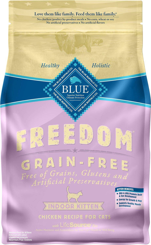 Blue Buffalo Freedom Indoor Kitten Chicken Recipe Grain-Free Dry Cat Food, 5-lb bag