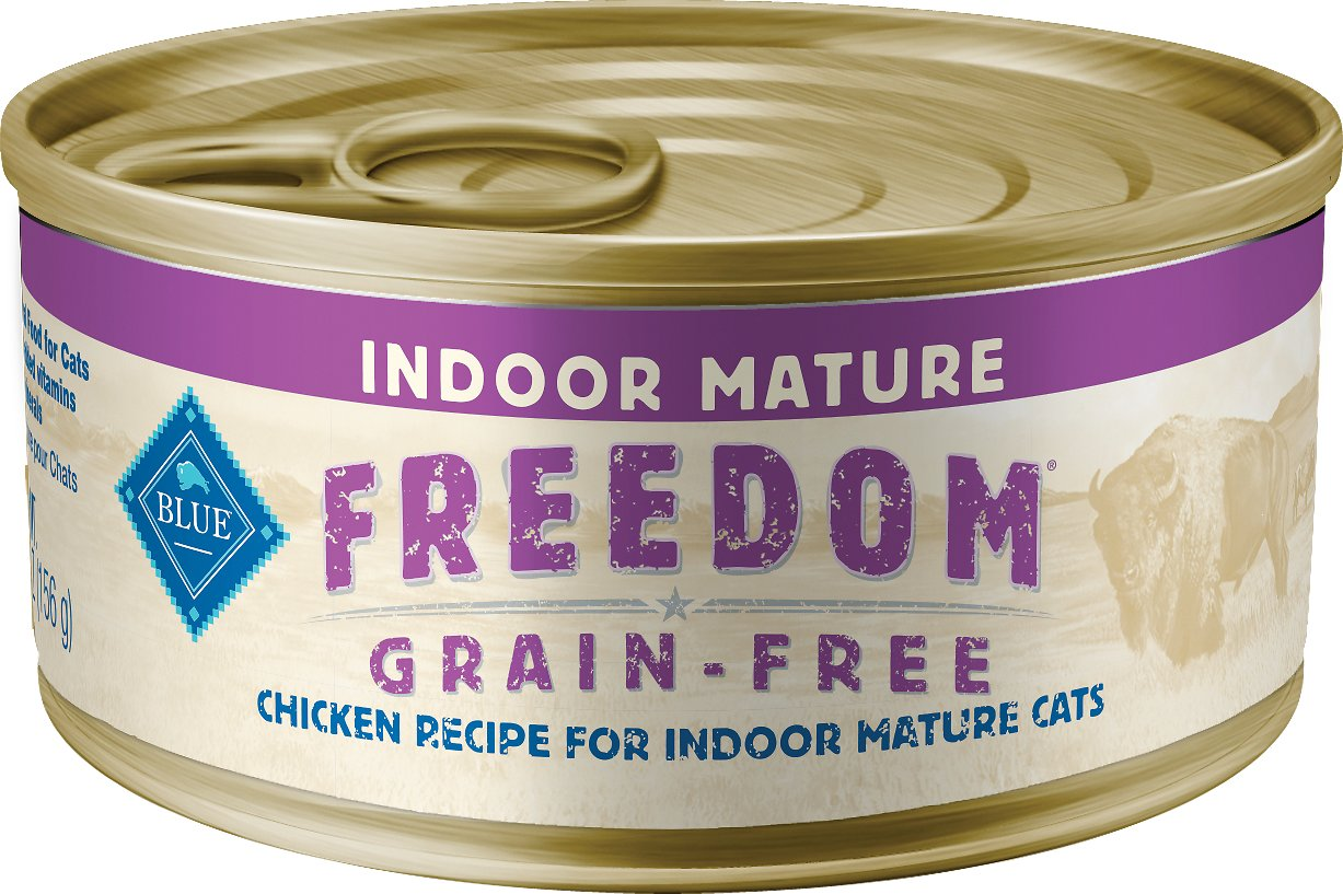 Blue Buffalo Freedom Indoor Mature Chicken Recipe Grain-Free Canned Cat Food, 5.5-oz, case of 24
